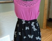 Handmade Dress, Mini Dress, Upcycled Dress, Pink and Black Dress, Upcycled Clothing, Butterflies, Recycled Clothing, Sleeveless Dress,Unique