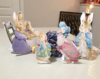 INSTANT DOWNLOAD - Peter Rabbit Cut-Out Stands - 12 Characters - Baby Shower Table Decorations - Beatrix Potter Peter Rabbit Stands