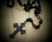 Black Obsidian  bead Rosary necklace  (ro-26-033)