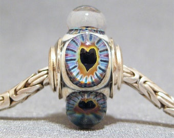 Murrini European Charm Lampwork Glass Dot Bead Big Hole Bead Heart Starburst
