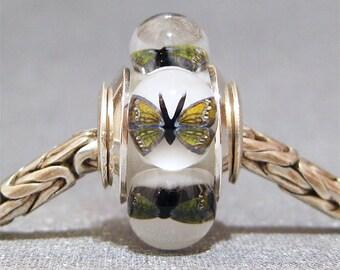 Lampwork Euro Charm Handmade Glass Bead Limited Edition Autumn Butterflies