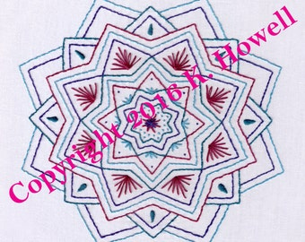 Mandala Hand Embroidery Pattern, Mandala With Fans and Drop Shapes, Fan, Drop, Geometric, Beautiful, Fun, PDF