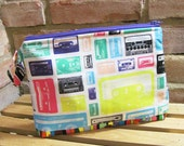 Retro Cassette Tapes Printed Cotton Make-up Bag / Toiletry Bag / Wet Bag with Snap Handle - FREE SHIPPING