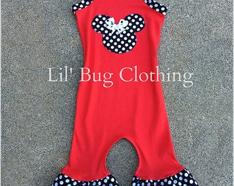 1 Piece Girls Red Minnie Mouse Outfit, Minnie Mouse Romper Outfit, Minnie Mouse Toddler Outfit, Minnie Birthday Outfit 3m 6m 9m 12m 18m 2t