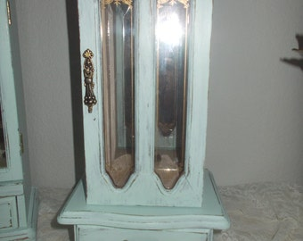 Shabby jewelry box Painted Mint Green upcycled jewelry armoire tall 14""