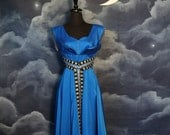 Vintage 1950s Eclectic Electric Blue Egyptian Styled Cocktail Dress - Size Medium