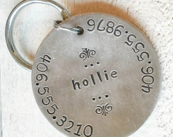 Our dog tags make a unique personalized gift. Each pet id tag is crafted in our Bozeman, Montana studio by dog lovers. Hollie Pet Tag