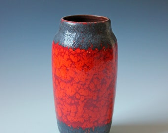 Modern 2-tone orange and gray glazed West Germany ceramic vase