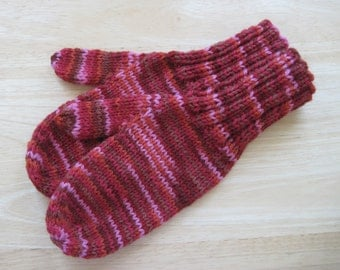 MITTENS HAND KNIT Adult Wool Rust Variegated