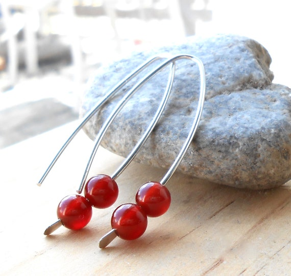 Sterling Silver Open Hoop Earrings, Gemstone Minimal Earrings, Red Bead Drop Earrings