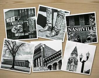 Nashville, Set of Six Themed Photographs on Card Stock, PhotoSquares