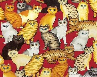 Cat fabric - Dan cats on red - a Dan Morris Design