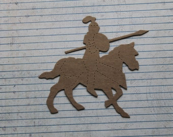 3 Bare chipboard Medieval Knight w/spear or lance on horse diecuts 5 1/8 inches w x 4 3/4 inches tall