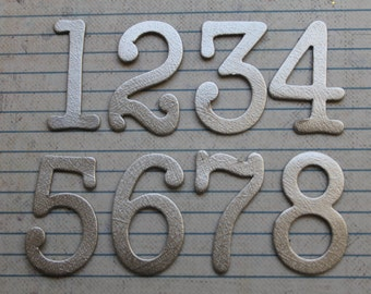 1 3/4 inch tall Numbers 1-12 silver brushstroke matte foil cardstock die cuts great for wedding table numbers
