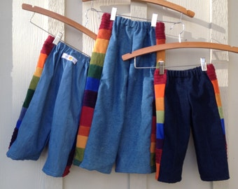 Pants for Boys or Girls...baby  toddler.. rainbow corduroy and denim patchwork. 6 months, 12 months, 18 months, 2T, 3T,