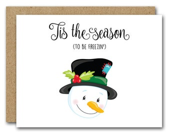 Snowman Card, Funny Snowman, INSTANT DOWNLOAD, Christmas Card, Holiday Card, Funny Holiday, Funny Christmas, Snowman Note Card, Printable