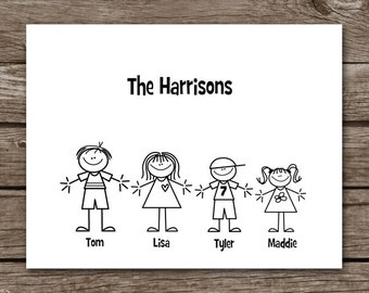 Stick Family Note Cards - Thank You - Personalized - Set of 8