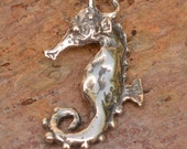 Rustic Seahorse Charm in Sterling Silver