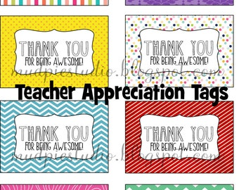 Thank You for Being Awesome - Teacher Appreciation Tags Labels