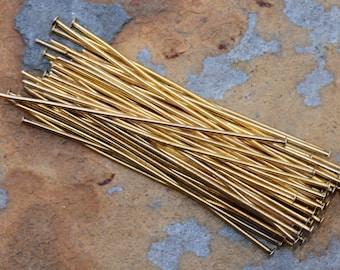 10 Antique Gold 2 inch Head pins -  Nunn Design Headpin