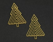 Exclusive - 4pcs Raw Brass Xmas Tree Charm / Pendant, Fit For Necklace, Earring, Brooch - TG127