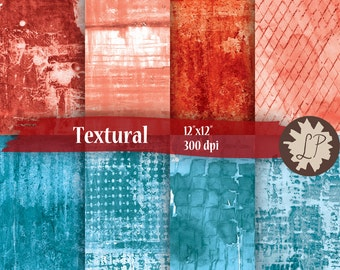 Red and blue Scrapbook Papers, hand painted background textural backgrounds instant download, scrapbooking, etsy banners, by LIZPLUMMER