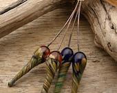 POD PAIRS - Ornate Pod Shaped Handmade Lampwork Headpins - 4 Headpins