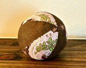 Fabric Ball - Baby Ball - Brown - Pink - Floral