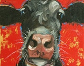 Cow painting 1158 12x12 inch original animal portrait oil painting by Roz