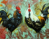 Rooster 800 24x36 inch original animal portrait oil painting by Roz