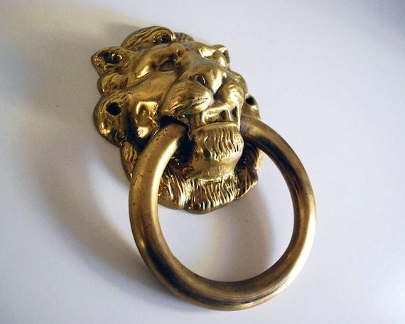 Antique lion head brass door knocker housewares by calloohcallay - Antique brass lion head door knocker ...