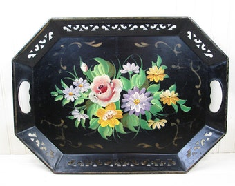 Vintage Pilgrim Toleware Tray Black Metal Large Flowers Floral Hand Painted Tin