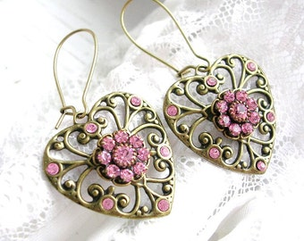 Vintage Style Filigree Heart Earrings, Pink Crystal Heart Dangles Earrings, Antique Earrings,  Pink Rhinestone, Wedding Jewelry