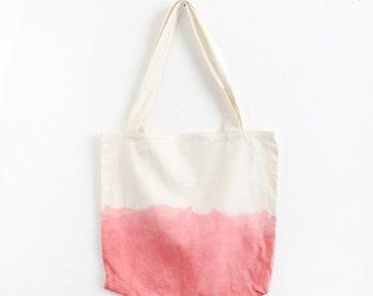Coral dip dye cotton tote II