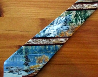 Red Canoe and Camping Necktie with Free Gift Box