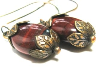 Red tigers eye earrings, tiger eye jewelry, natural tiger eye stone, wire wrapped brass dangles, fall chunky earrings, rust brown beads