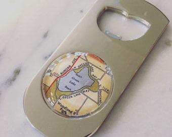 Green Lake Seattle Map Bottle Opener - Great Groomsmen Gift - Handmade Beer Opener - Wanderlust - Travel - Washington State