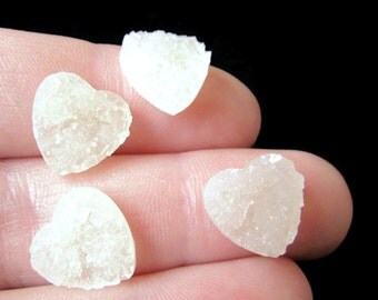 Hearts 20 Ivory Heart Cabochons 12mm Resin Druzy Heart Cabochons Jewelry Making Faux Druzy Cabochons Drusy Cabochons Cabs