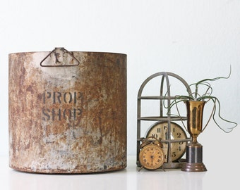 Vintage Industrial Pail, Prop Shop Metal Bucket