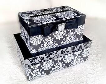 Damask Wedding Card Box (2 Tier)