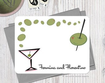 Martini and Olives - Set of 12 Personalized Flat Note Cards + Envelopes