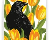Crow and Tulips, Boxed Set of 8 Greeting Cards