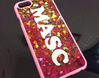 Pink Glitter Masc Print iphone Hard Case
