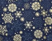 Christmas blue silver snowflake fabric - 1 yard