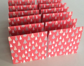 Mini Cards 24 Christmas small trees - blank for thank you notes 3 x3