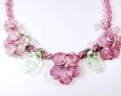 pink roses bib necklace lamp work flowers haku lei flower necklace lamp work necklace macrame jewelry macrame necklace statement flower bib