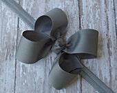 Boutique Gray Headband Gray Big Bow Headband Gray Baby Headband Gray Toddler Headband Large Bow Headband New Baby Gift