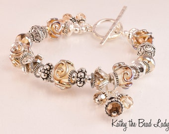 Lampwork Bracelet - Golden Metallic Scroll Lampwork Bali and Karen Hill Tribe Silver Bead Bracelet - KTBL