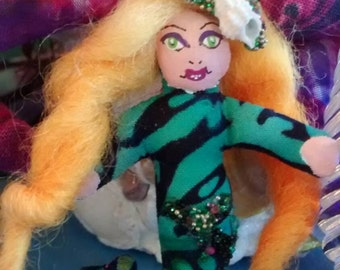 Miniature Blonde 2 Inches of Fun Mermaid Doll Made By Tessimal Bejeweled with Tiny Beads