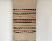 Vintage Hand Embroidered Tablecloth,  Creamy White Linen Cloth Embroided in Multicolor stripes, Swedish Textile